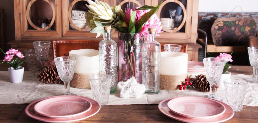 mesa navideña rosa
